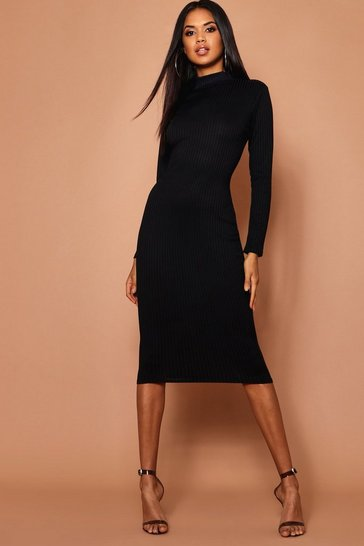 Womens Black High Neck Jumbo Rib Midi Dress