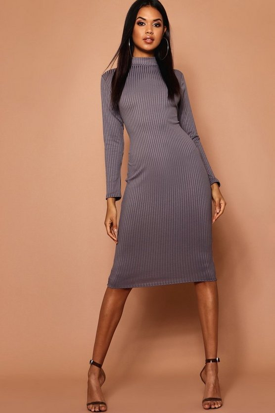 High Neck Jumbo Rib Midi Dress