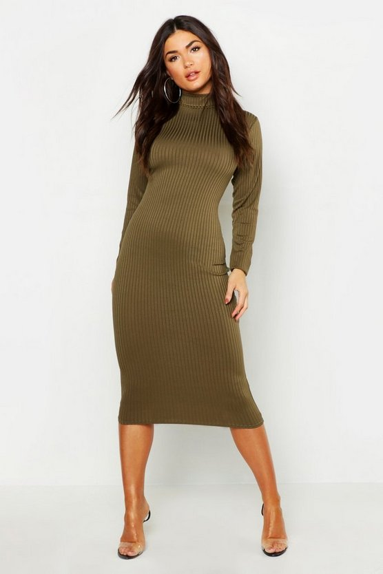 Womens Khaki High Neck Jumbo Rib Midi Dress