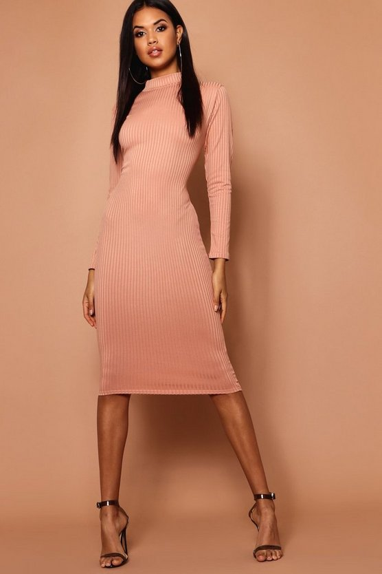 Womens Peach High Neck Jumbo Rib Midi Dress