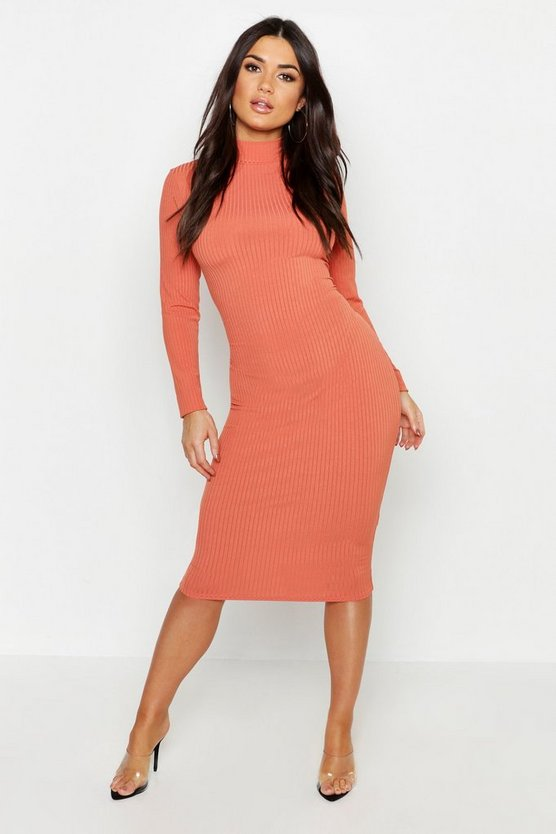 Womens Terracotta High Neck Jumbo Rib Midi Dress