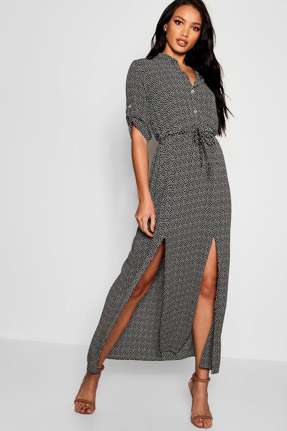 0c074a6aef9 Длинное платье-рубашка с двумя разрезами в мини-горошек