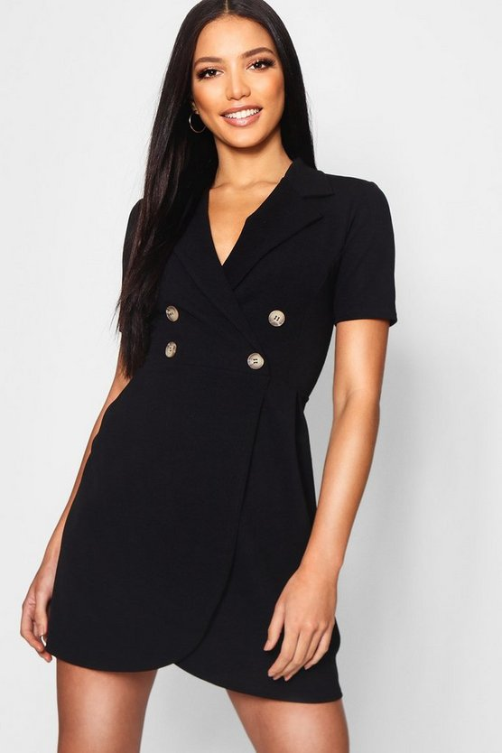 Mock Horn Button Utility Blazer Dress