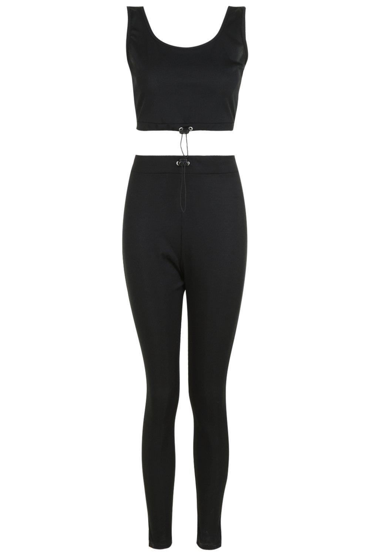 cordón ajustable canalé en y negro con Conjunto top de pantalones wqXnx80I