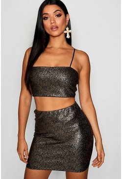 Womens Gold Sparkle Crop Top And Mini Skirt