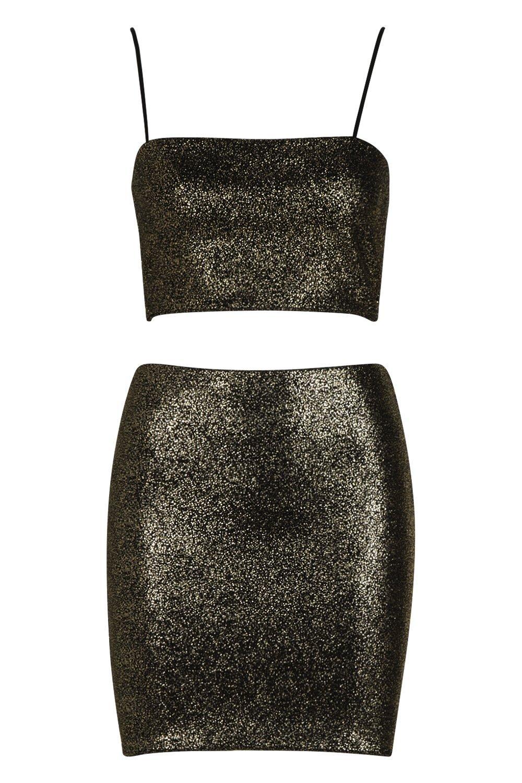 brillo con dorado corto top Minifalda y ZIq0nR0w
