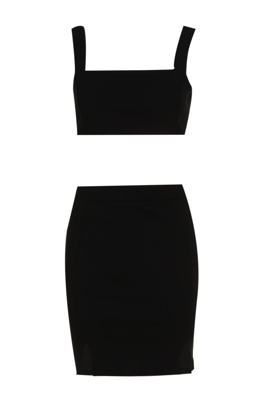 y cuadrado y atada espalda negro Conjunto tiras cuello minifalda de con top con 6YBwgSEq