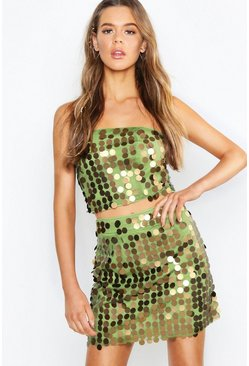 Womens Khaki Sequin Bralet + Mini Skirt Co-Ord