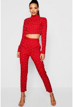 Womens Red Woven Pearl Long Sleeve Crop Top + Tapered Trouser Co-Ord