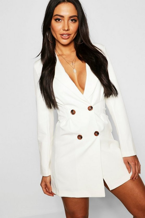 Womens Ecru Utility Double Breasted Blazer Dress