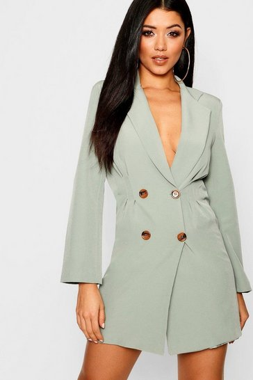 Womens Sage Utility Double Breasted Blazer Dress