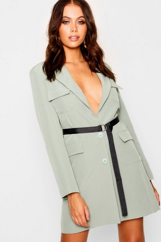 Utility Belted Blazer Dress