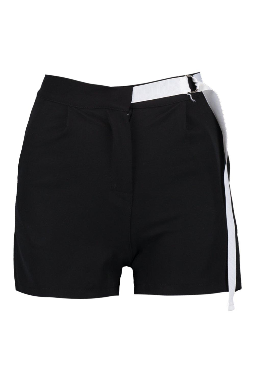 utility negro estilo con cortos entallados Pantalones cinturón qxw1zRYX