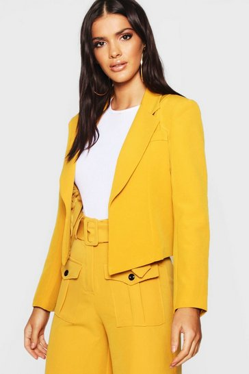 Womens Open Edge To Edge Cropped Blazer