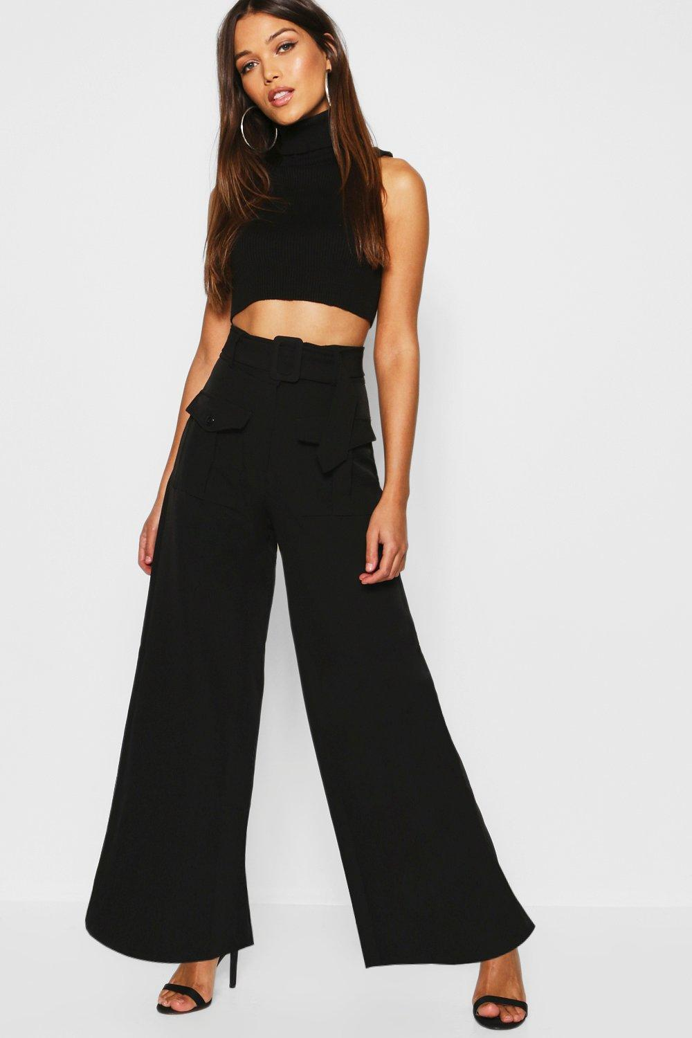 2d49dbd32201 Utility Pocket High Waisted Belted Wide Leg Pants. Hover to zoom