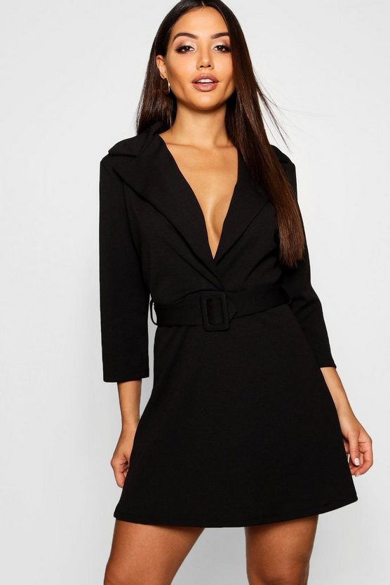 Covered Belted Blazer Dress
