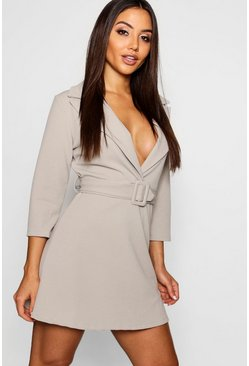 Womens Sage Covered Belted Blazer Dress