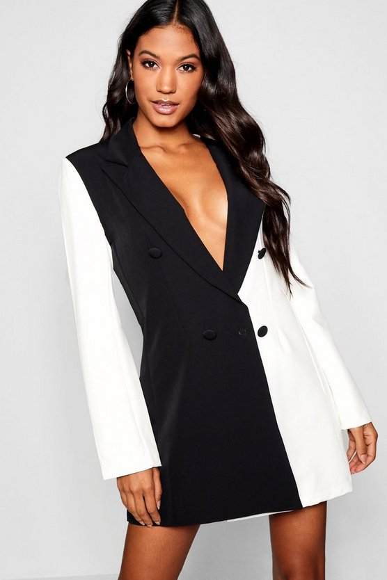 Black Monochrome Contrast Blazer Dress