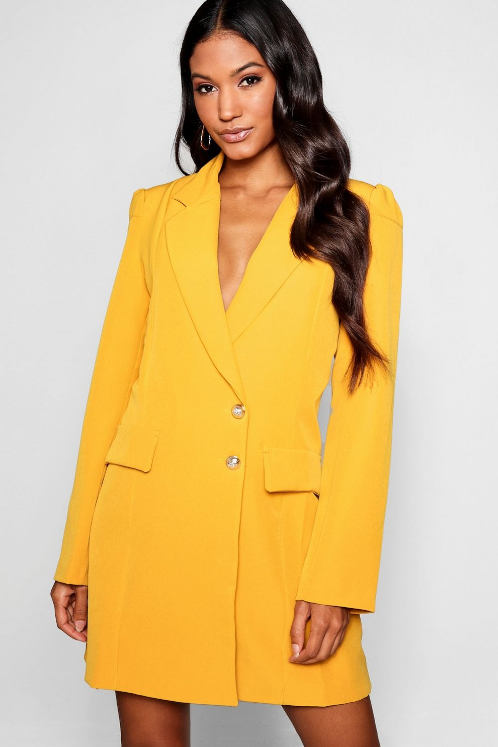 fd4fdc2d23e6f Womens Mustard Volume Sleeve Blazer Dress. Hover to zoom
