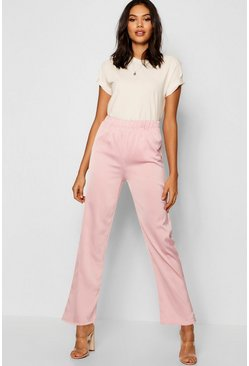Womens Blush Hammered Satin High Waist Wide Leg Trouser