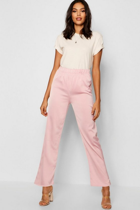Hammered Satin High Waist Wide Leg Trouser