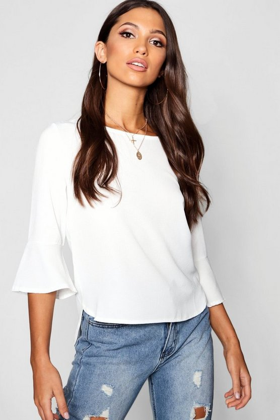 Womens Ivory Frill Sleeve Woven Top