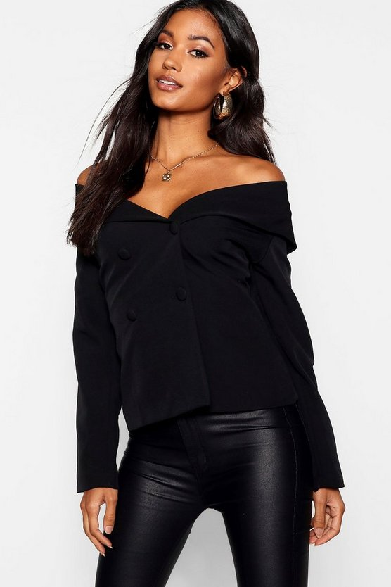 Off The Shoulder Covered Button Blazer