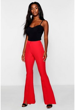 Womens Red Button Detail Flare Trouser