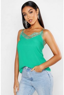 Green Eyelash Lace Trim Woven Cami