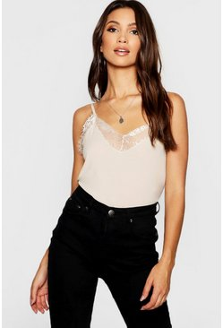 Womens Stone Eyelash Lace Trim Woven Cami