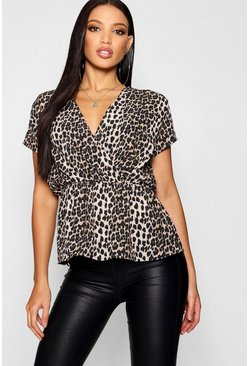Womens Brown Leopard Print Peplum Wrap Woven Top