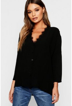 Black Eyelash Lace Trim Oversized Woven Blouse