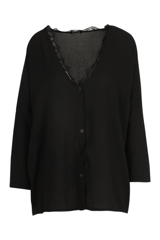 de negro tejida adorno ancha de encaje Blusa con puntilla qIxHw6S