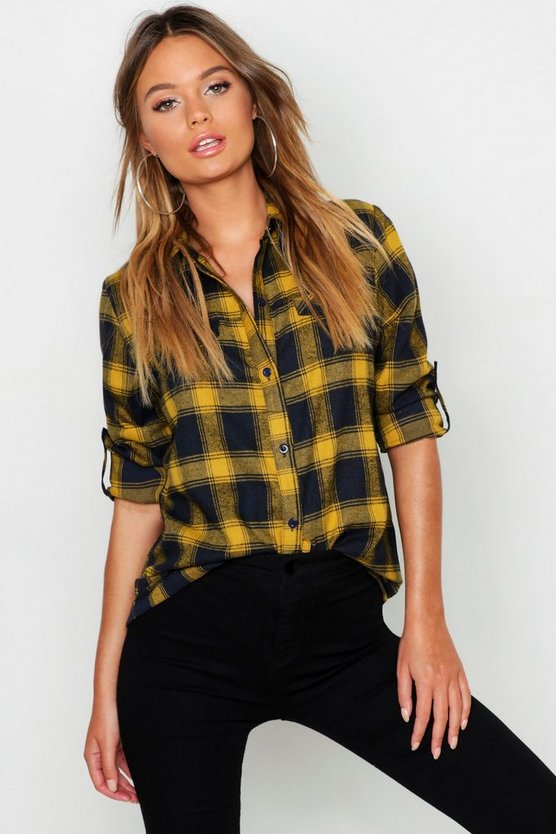 Womens Mustard Brushed Check Cotton Oversized Shirt