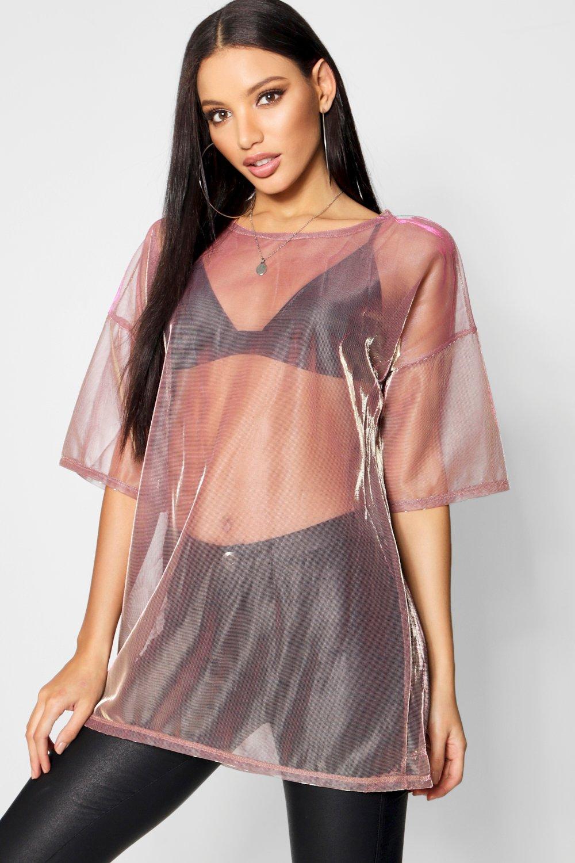 transparencia iridiscente con oro ancha Camiseta rosado q6Ew4Wft