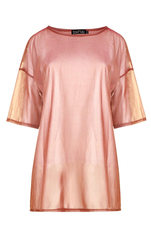 rosado Camiseta transparencia con ancha iridiscente oro nwqHfX06