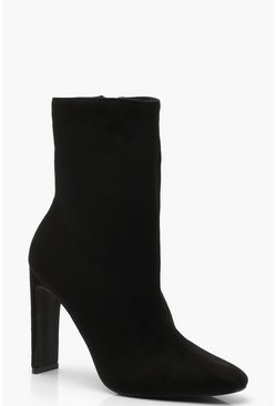 Womens Black Flat Heel Shoe Boots