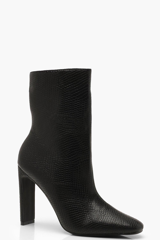 da59390e785 Snake Effect Flat Heel Shoe Boots | Boohoo