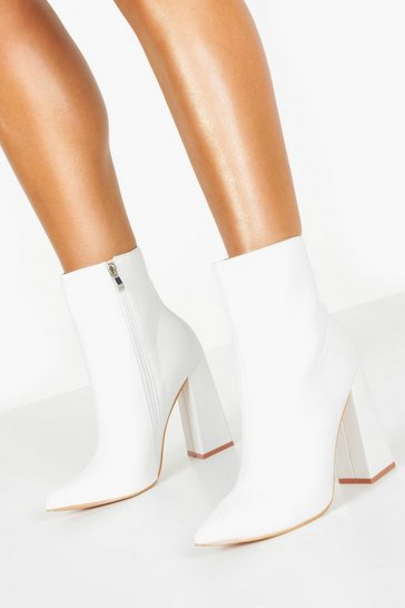 White Flared Heel Sock Boots