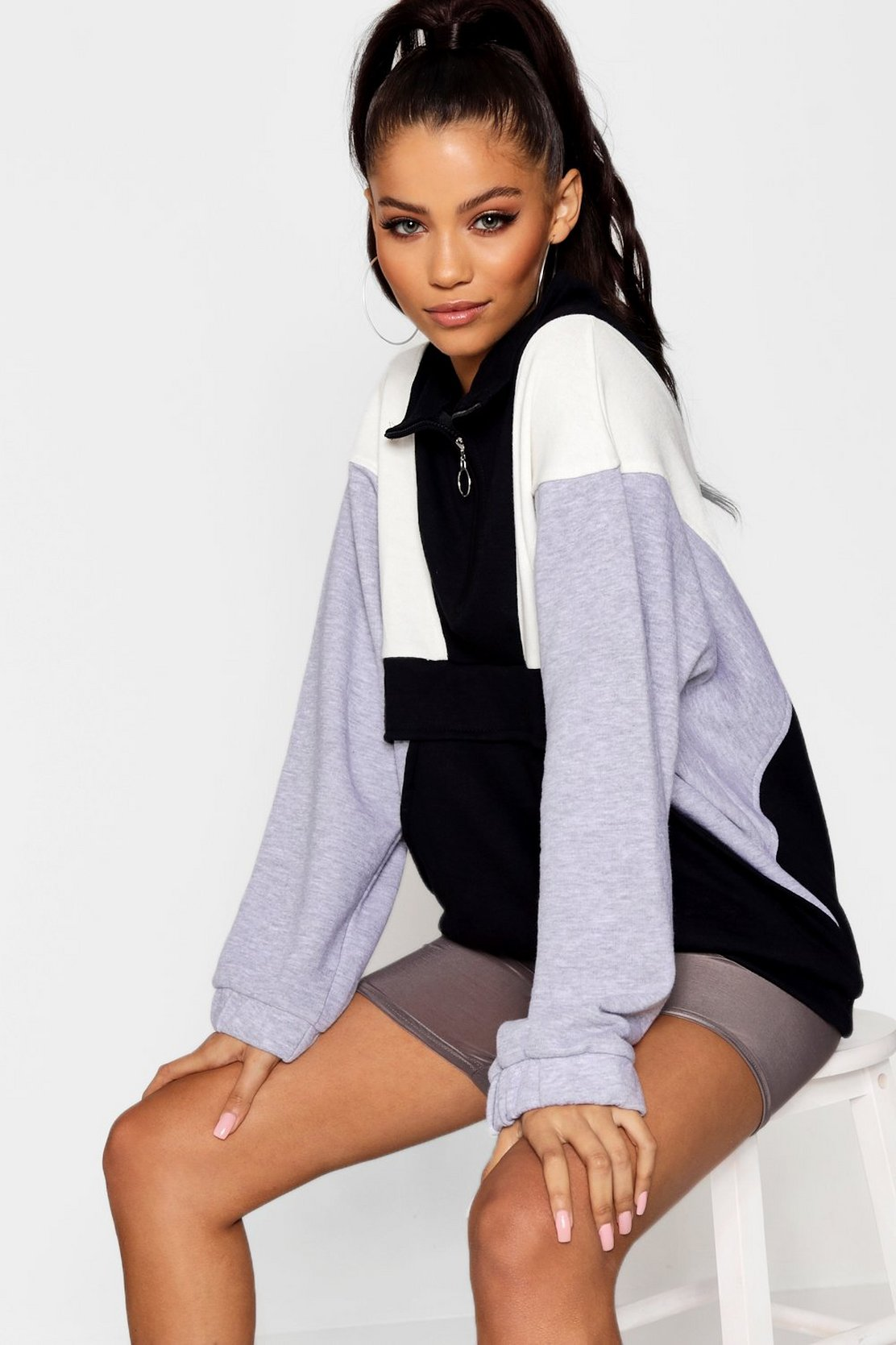 Colour Block Zip Pull Sweater by Boohoo