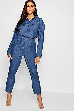 Horn Button Pocket Denim Boiler Suit