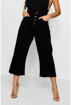 Womens Black Mock Horn Button Crop Wide Leg Jean
