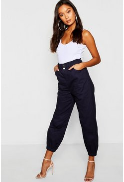 Womens Denim-blue Cinched In Waist Twill Mom Jeans