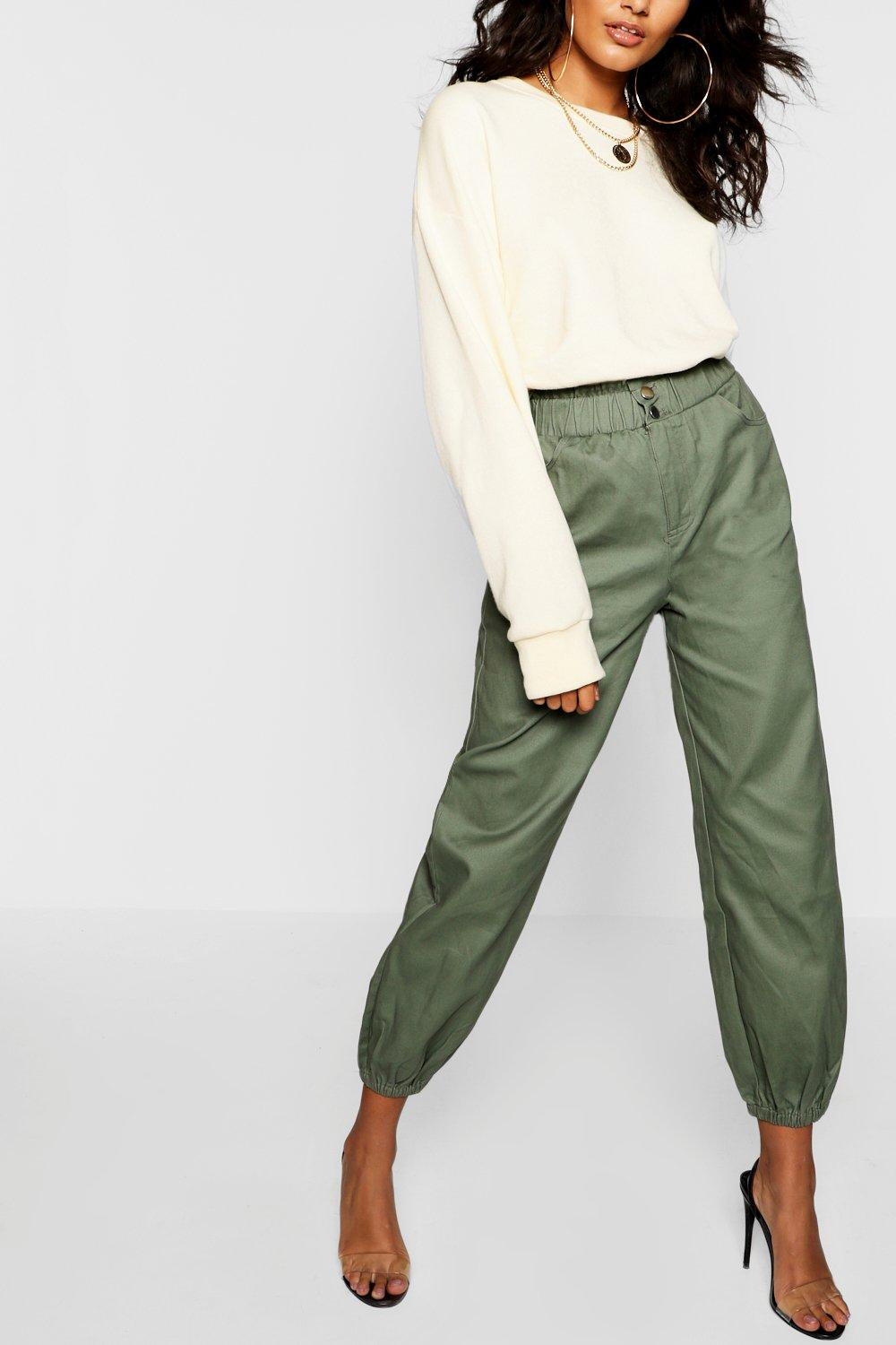 Cinched In Waist Twill Mom Jeans