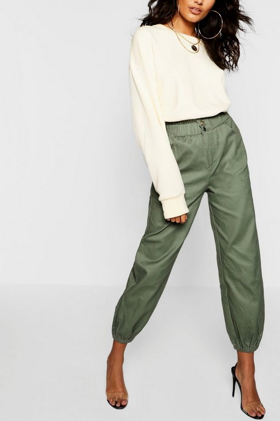 Sage Cinched In Waist Twill Mom Jeans