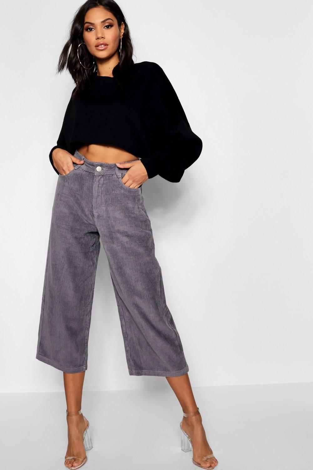 705957fe07601 High Waist Wide Leg Cropped Jumbo Cords. Hover to zoom