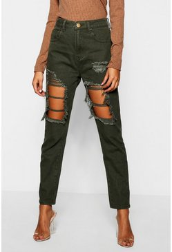 Womens Khaki High Waist Distressed Mom Jeans