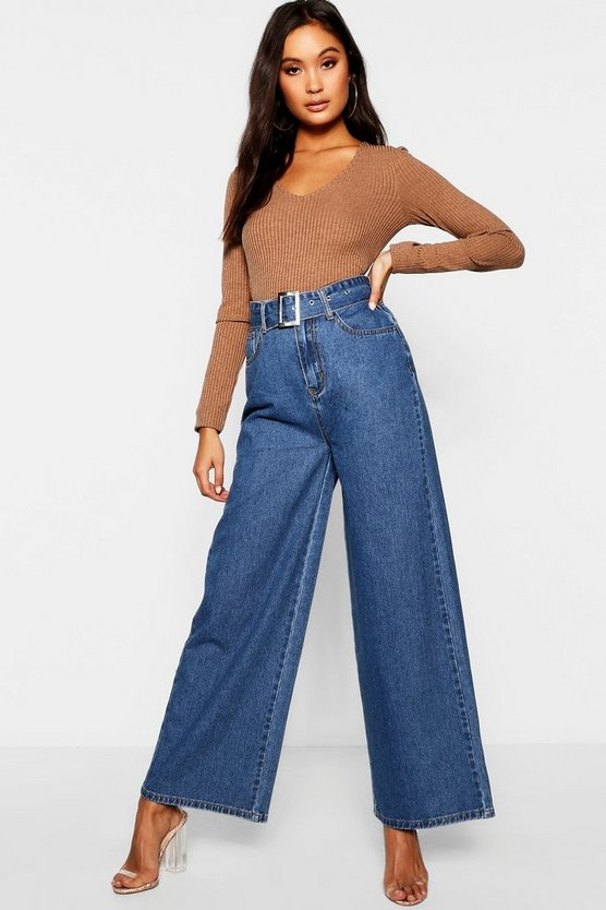 Womens Dark blue Belted High Waisted Wide Leg Jeans