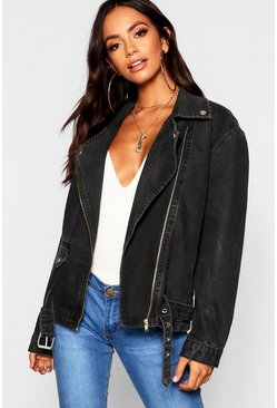 Black Oversized Denim Biker Jacket