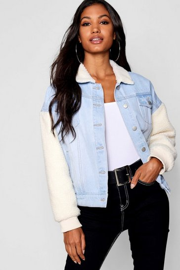Womens Light blue Borg Sleeve Oversize Denim Jacket